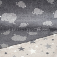 Wellness Double Fleece elephants and stars grey KC4009-068