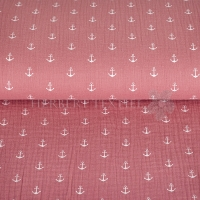 Cotton Hydrofieldoek Mousseline Double gauze anchor dark coral 03598-007