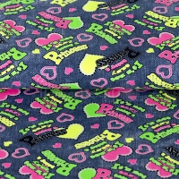 Kids Jersey Neon hearts & tekst print princess blue 4939-1107
