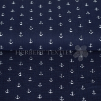 Cotton Hydrofieldoek Mousseline Double gauze anchor navy 03598-002