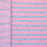 Jersey double stripes lachs pink-grey 60657
