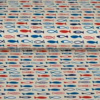 Kiko Jersey Maritime fish background beige multi 124-870-3001