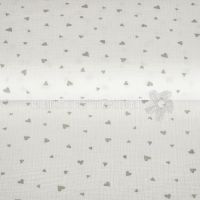 Cotton Hydrofieldoek Mousseline Double gauze hearts white  04667-004