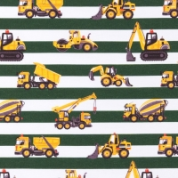 Jersey Printed stripes contruction vehicles green white 64415