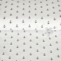 Cotton Hydrofieldoek Mousseline Double gauze anchor white 03598-001